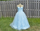 SALE!! Powder Blue 50's style Tulle Ball Gown WITH Petticoat Skirt Wendy Darling Cinderella 2015 Prom Cosplay