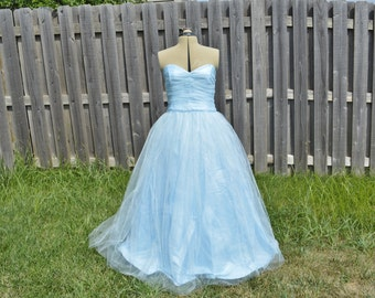 Powder Blue 50's style Tulle Ball Gown WITH Petticoat Skirt Wendy Darling Cinderella 2015 Prom Cosplay