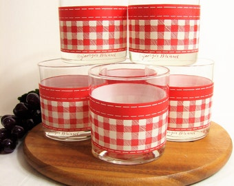 "Georges Briard Rocks Glasses, Vintage Glassware, Old Fashioned Glasses 3.5"" 10oz, Set of 6, Red White Gingham ... Whiskey, Lowballs, Barware"
