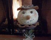 Sweet Primitive Handmade Snowman Make-Do -- Winter and/or Holiday Decoration