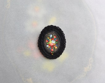 black floral brooch - russian zhostovo painting - flower painting brooch - black felt brooch
