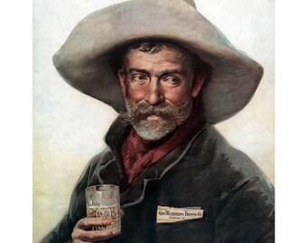 Cowboy Greeting Card - Wiedemann Beer Advert Repro - Vintage Style