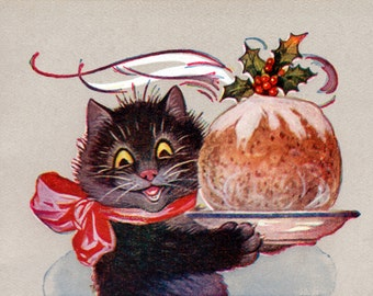 Christmas Cat Card | Kitty with Plum Pudding Greeting Card | Repro Louis Wain
