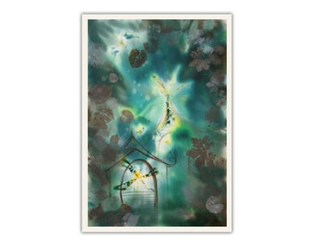 Fairytale landscape, woodland houses, enchanted forest, fantasy art, elven, sprite, fairy, print on paper, giclee, bedroom decor for teens