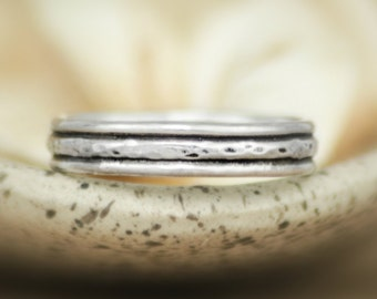 Unisex Silver Narrow Hammered Wedding Band - Silver Rustic Stacking Wedding Ring - Layered Silver Bridal Band - Rustic Wedding Band
