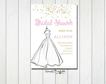 Pink and Gold Bridal Shower Invitation, Wedding Dress Invite, Modern Bridal Shower Invitation, Bride