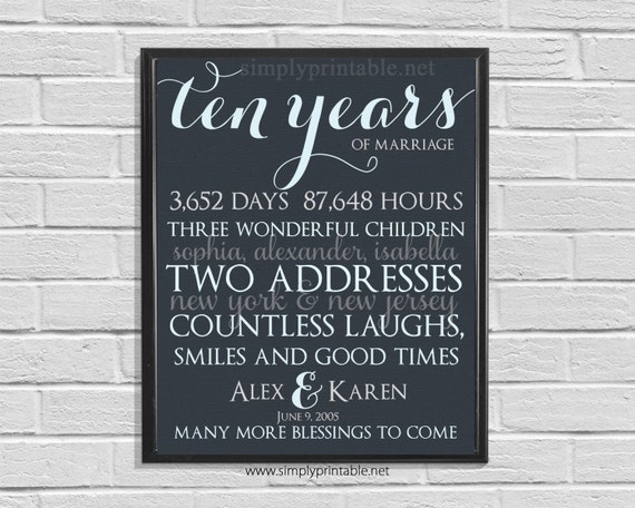 Anniversary Wall Print, Printable 10th Anniversary, Anniversary Gift, Days, Hours, Digital Wall Print