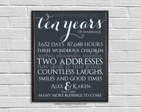 Anniversary Wall Print, Printable 10th Anniversary, Anniversary Gift, Days, Hours, Digital Wall Print
