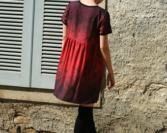 Elegant red, purple ombre, gradiant smock dress viscose light weight T shirt, baby doll dress