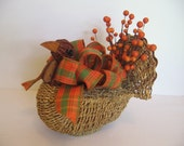 Rustic Turkey Centerpiece, Fall Decor, Harvest Centerpiece, Table Centerpiece, Orange Green Centerpiece, Fall Turkey, ATGCele SnowNoseCrafts