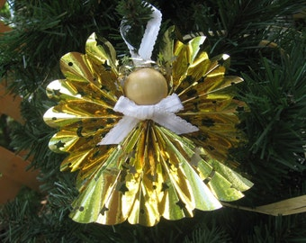 Gold Paper Angel, Christmas Ornament, Paper Ribbon Angel, Christmas Tree Ornament, Gold Holiday Decor, Paper Angels, Ornament SnowNoseCrafts