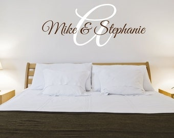 Personalized Vinyl Wall Decal Names Initial Wall Decal Husband Wife Names Decal Master Bedroom Wall Decal Wedding Gift Romantic Wall Art