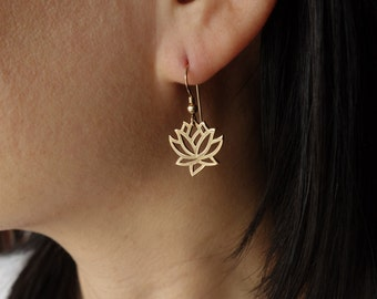 Lotus Earrings in Bronze,lotus blossom,Mother's Day Gifts,bridesmaid gift,bridal shower, wedding gift, gift for her, wedding jewelry,simple
