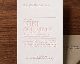 Sweet Pink Letterpressed Wedding Invite