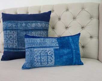 Vintage Indigo batik Hmong cushion cover, Handwoven Hemp Fabric,Scatter cushions