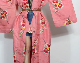 Vintage Kimono Jacket Rich Coral Pink Abstract Floral