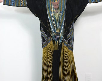 Vintage 70s Hippie Caftan Dress Bohemian Maxi Gown Incredible Shape and Detail