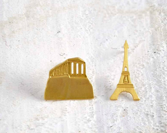 Parthenon Eiffer Tower Mix and match Gold plated bronze Earrings famous Architectural Buildings Stud Earrings European Capitals Stud