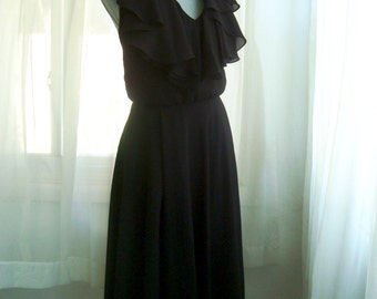 1980's Black Halter Cocktail Dress With Matching Jacket, By Ursula of Switzerland,  Size Small
