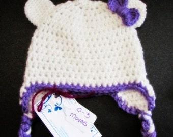 Baby Kitty Crochet Beanie 0-3 Months