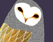 Beautiful Barn Owl. children's wall art - nursery art - wall decor - art print - kids room art - owl decor - illustration prints - digital.
