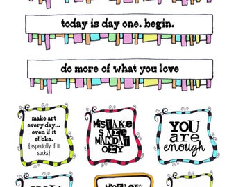 Stickers; Tiny Inspirations in Doodled Frames; 17 count