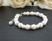 White Bridal Bracelet, White Bridesmaid Bracelet, White Wedding Jewelry, White Pearls & Rhinestones with Extender at Affordable Price
