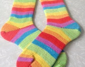 Rainbow Socks : Hand Made Striped Rainbow Wool Socks - Custom Size