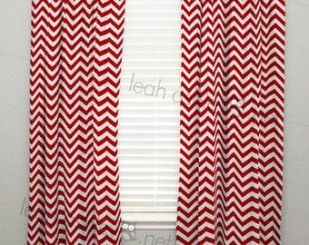 Curtain Panel - Red Chevron - C1
