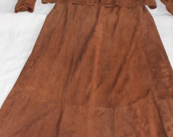 Vintage  1980s Suede Outfit Costume  Wear or Repurpose Brown Long Skirt Jacket-OCCB