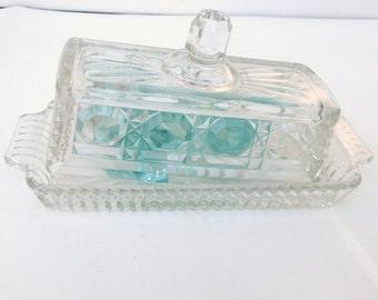 Vintage Butter Dish, Butter Server, Quarter Pound Butter Keeper, Federal Glass Windsor Button and Case