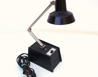 Vintage Folding Task Light / Adjustable Desk Lamp / Small Black Table Lamp with Shade