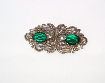 Vintage Green Faceted Rhinestone Brooch Marcasite Pin Paul Sargent 24KP