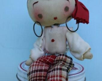 Vintage Big Eye, Gypsy Style Pose Doll, Japan