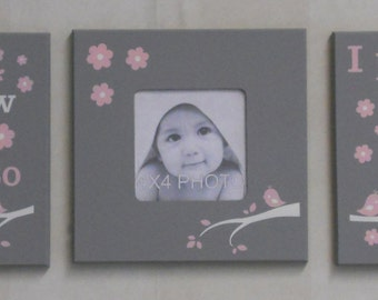 Baby Girl Nursery Pink and Gray Baptism Gifts Set of 3 - Photo Frame and Signs: Now I Lay Me Down To Sleep / I Pray The Lord My Soul To Keep