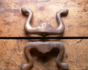 Vintage Pair of Brass Footstool Legs - Architectural Salvage