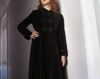 60s Vintage Mod Velvet Maxi Coat medium Mint