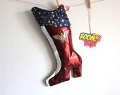 Wonder Woman Christmas Stocking - Superhero princess stocking
