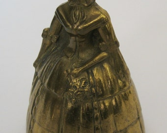 Brass Lady Bell w/Flowers and Scarf made in England