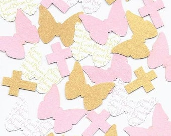 Pink & Gold Baptism Decorations for Girls - Butterfly and Cross Confetti