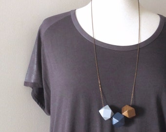 Quattorden - One Brass Blue and Gray Long Geometric Necklace with Large Handpainted Polyhedron Wood Block Beads (Geometrische) by InfinEight