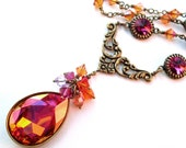 Rhinestone pendant colorful necklace, antiqued brass, Austrian crystal, large pendant, orange pink necklace, statement Fall crystal jewelry