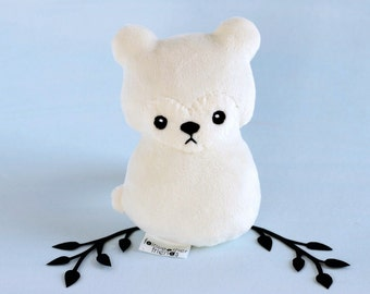 Polar Bear Plushie. White Teddy Bear, Winter Bear Plush, Stuffed Animal, Small Bear Softie, Woodland Plush Toy, Snow Bear Doll, Minky Plush