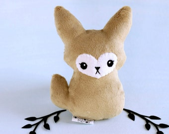 Fennec Fox Plushie. Stuffed Toy, Desert Fox Softie, Fennec Fox Doll, Vixen Plush Toy, Small Fox Gift, Cute Minky Plush, Soft Toy Fox