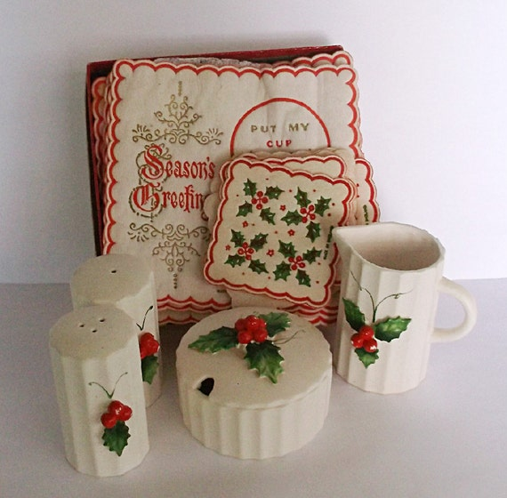 Holt Howard Christmas Holly Berry Salt and Pepper Shakers Creamer Sugar Bowl