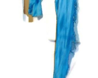 Twist Scarf hand dyed scarf fashion scarf tattered scarf blue scarf cotton scarf rayon scarf natural fiber scarf bohemian scarf boho scarf