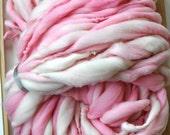 Super Bulky Giant Big Yarn Pink Cream Handspun Chunky Knitting Supplies Crochet Supplies
