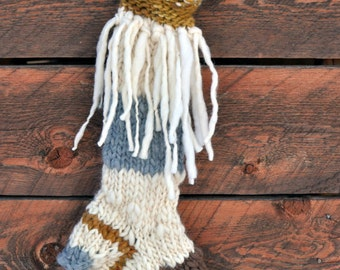 Christmas Holiday Stocking, Handknit, Knit, Homemade, Long, Big, Wild, Whimsical, Holiday, Handspun Yarn, Colorado, Made to Order