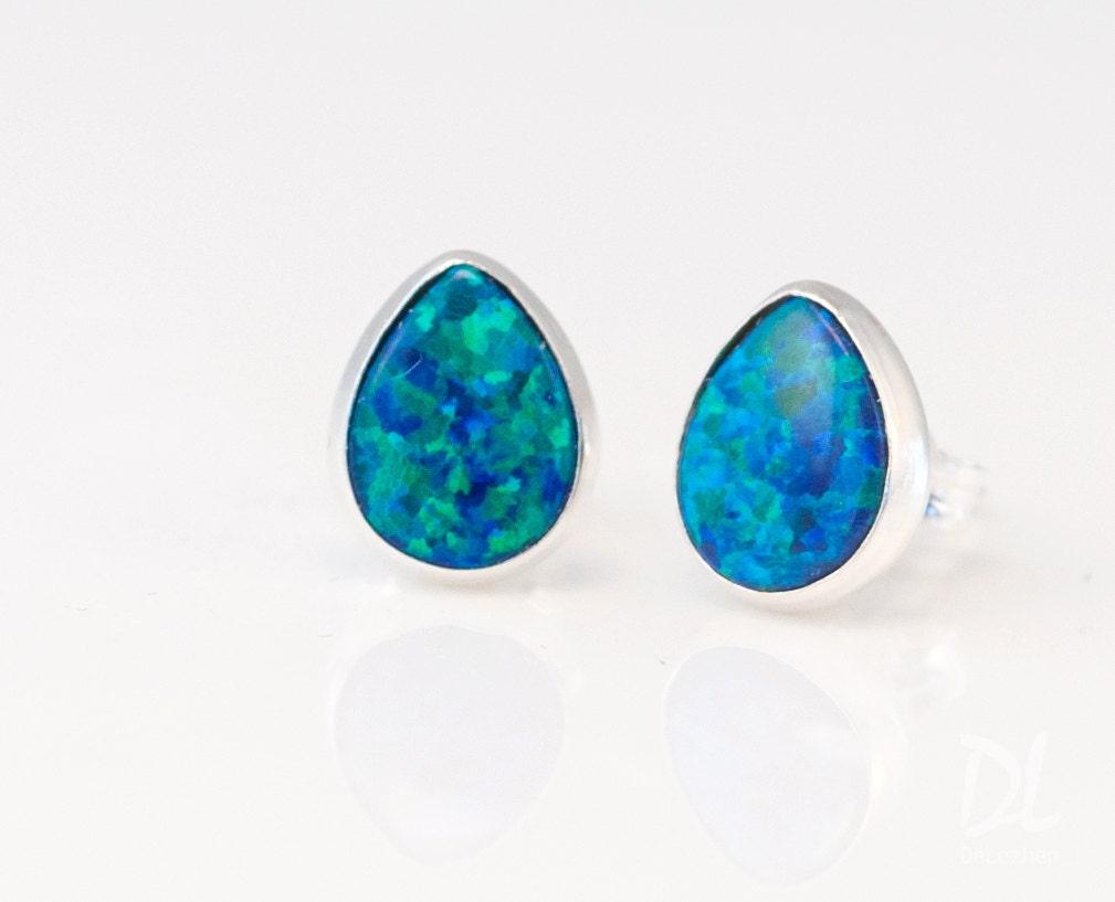 blue opal stud earrings opal earrings tear drop birthstone. Black Bedroom Furniture Sets. Home Design Ideas