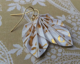Origami Leaf Earrings // White and Gold